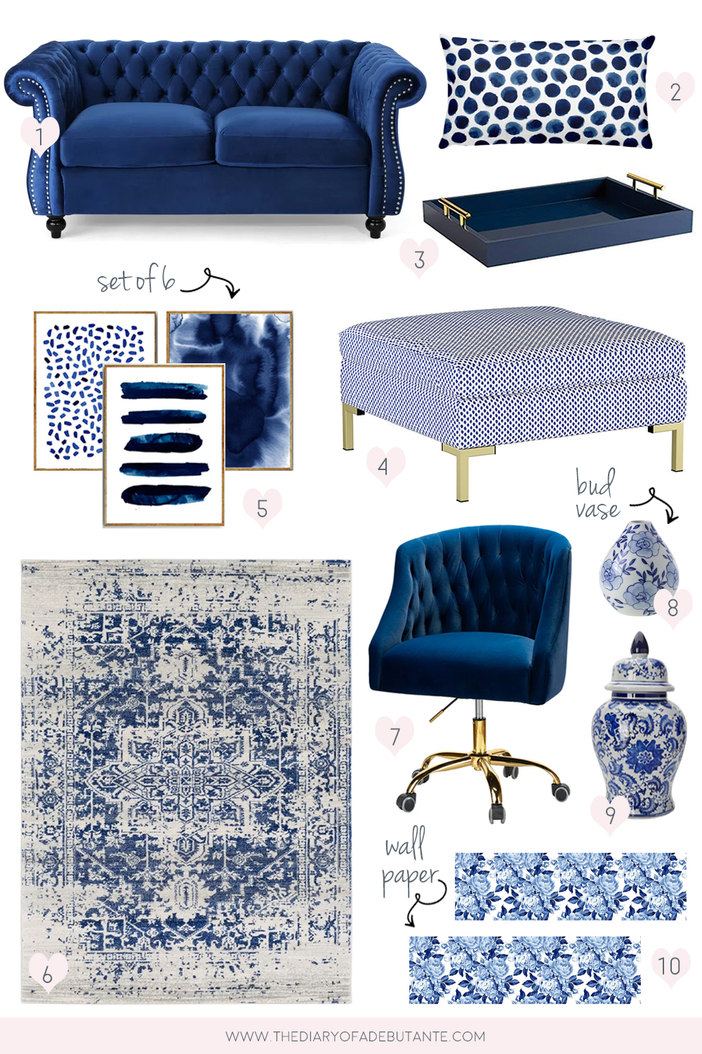 Blue and white decorating ideas from blogger Stephanie Ziajka on Diary of a Debutante