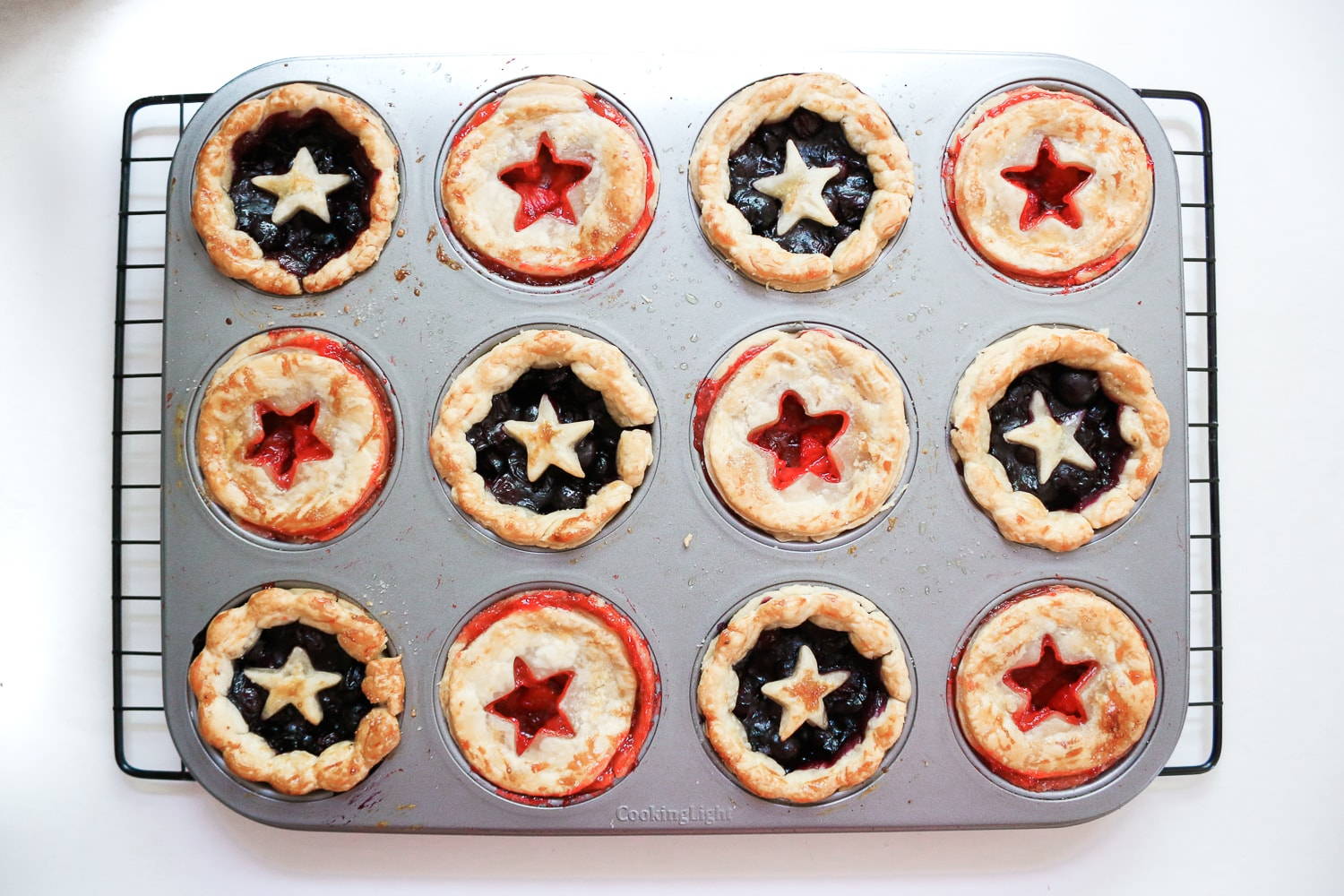Blogger Stephanie Ziajka shows how to make miniature blueberry pies in a muffin tin on Diary of a Debutante