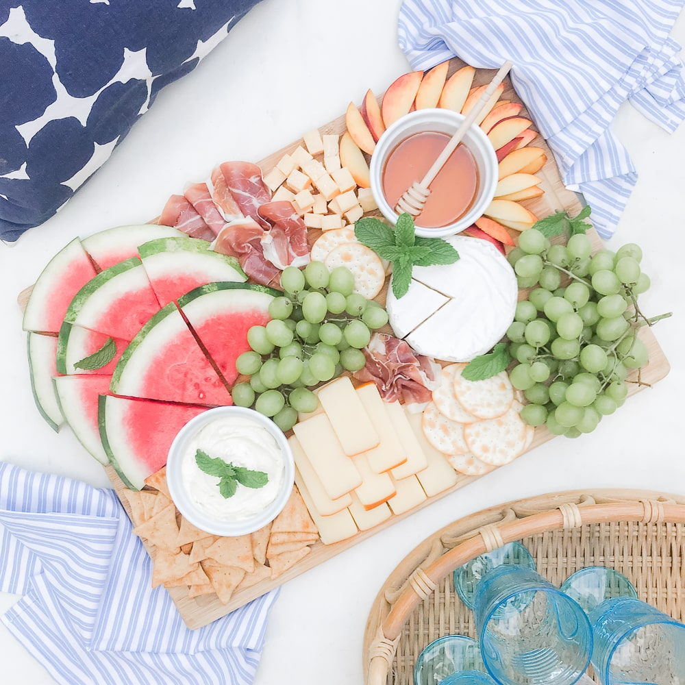 Colorful summer cheese board ideas from blogger Stephanie Ziajka on Diary of a Debutante