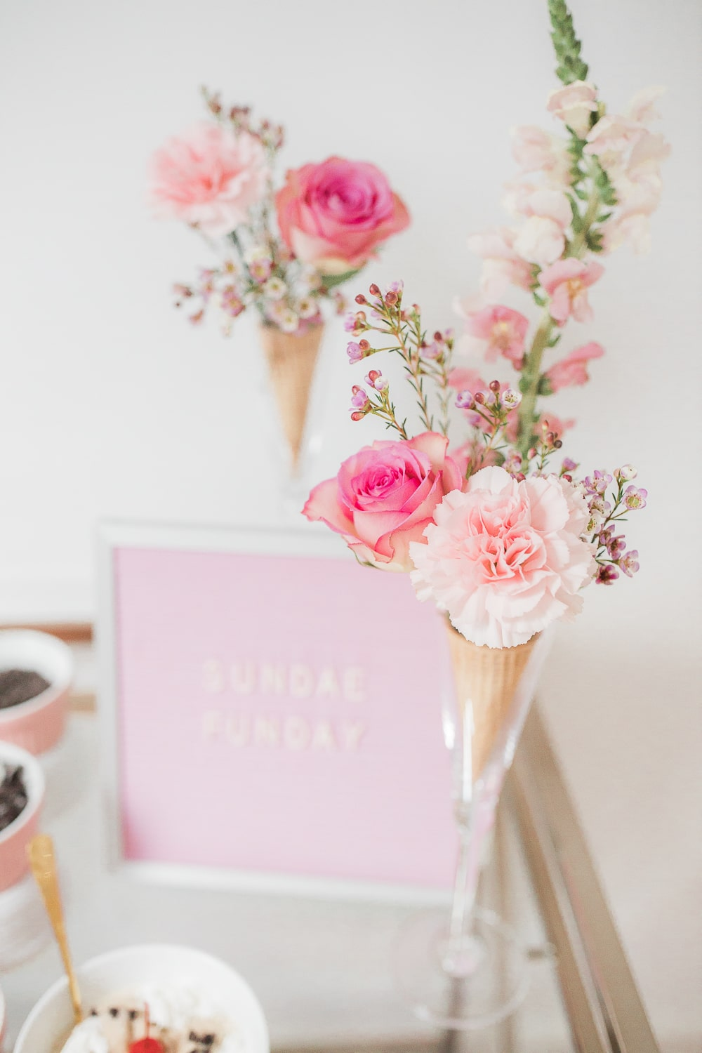 Ice cream cone floral arrangement created by blogger Stephanie Ziajka on Diary of a Debutante