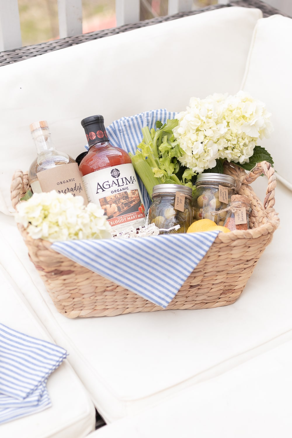 Southern lifestyle blogger Stephanie Ziajka shares one of her favorite DIY gift baskets (a bloody mary gift basket) on Diary of a Debutante