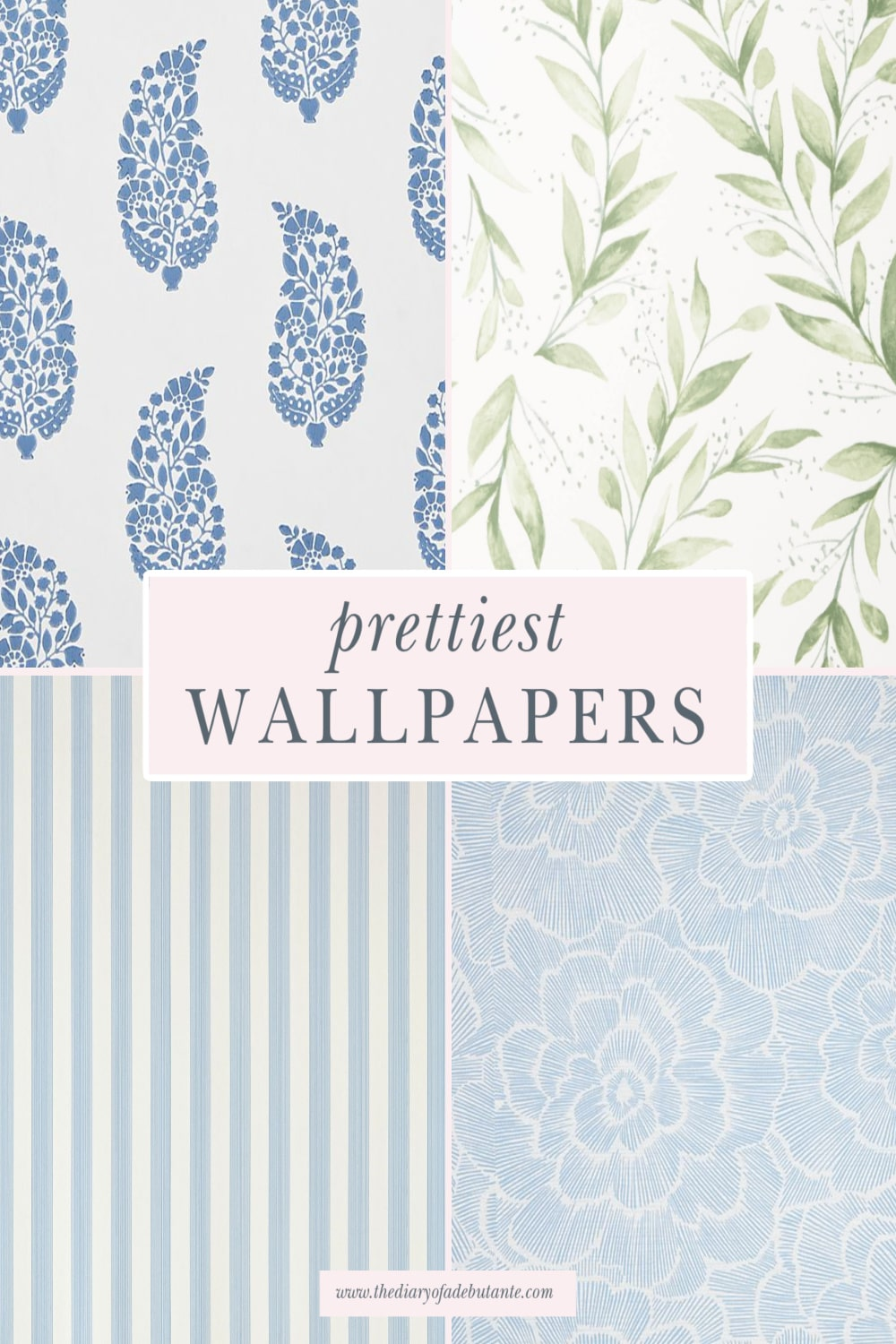 Living room wallpaper ideas by blogger Stephanie Ziajka on Diary of a Debutante