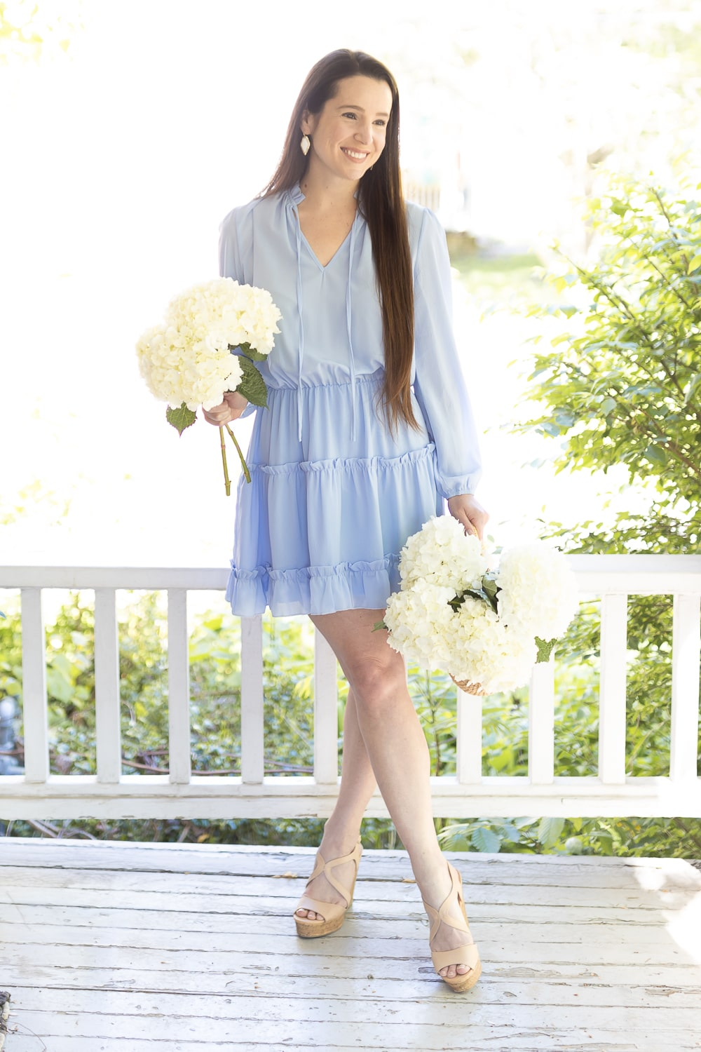 Light blue dress outfit styled by affordable fashion blogger Stephanie Ziajka on Diary of a Debutante