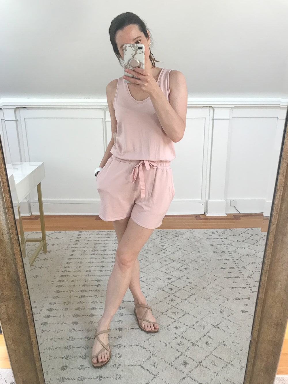 Amazon Daily Ritual Supersoft Terry Relaxed Fit Sleeveless Romper tried on by affordable fashion blogger Stephanie Ziajka on Diary of a Debutante