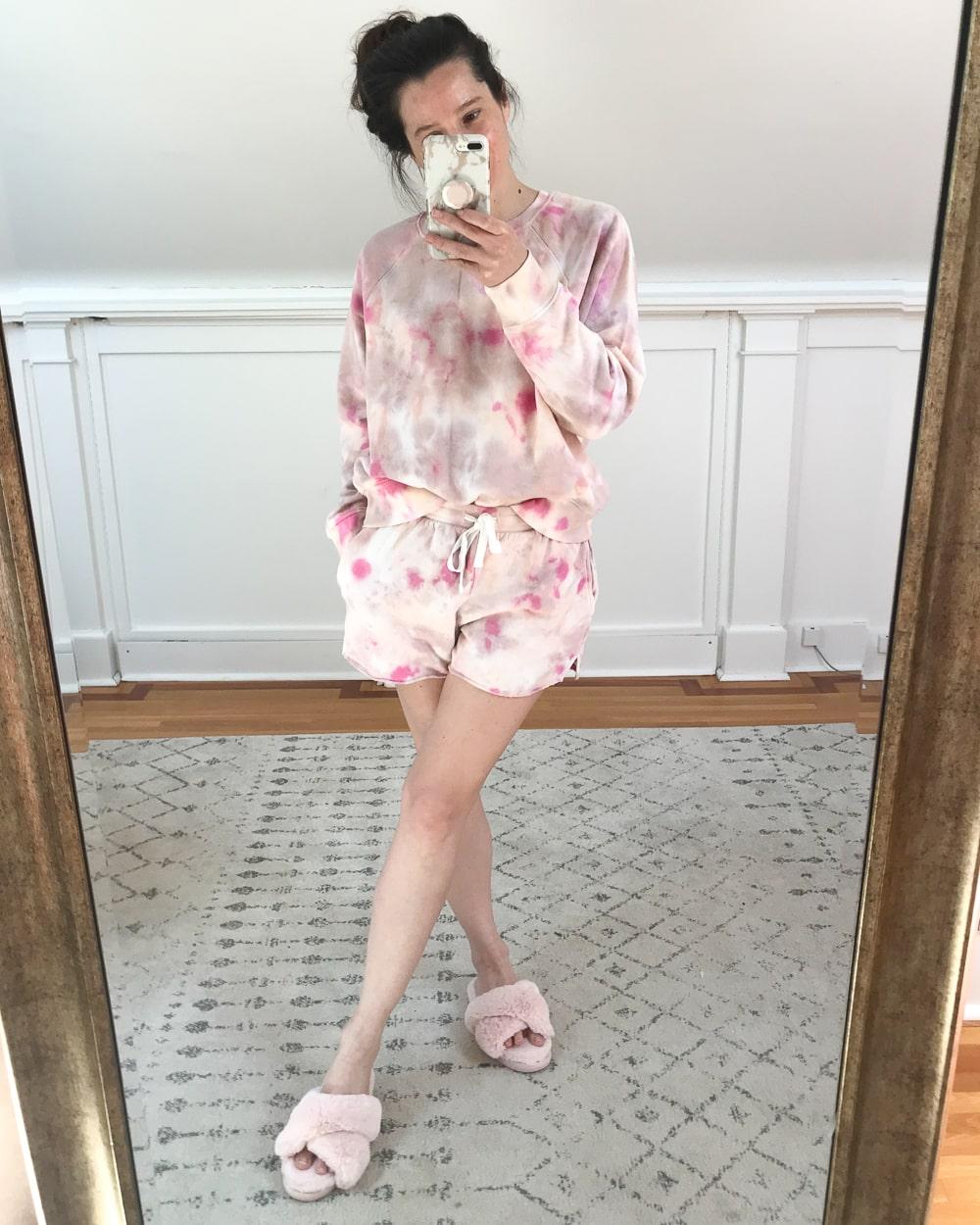 Amazon pink tie dye fleece set worn by affordable fashion blogger Stephanie Ziajka on Diary of a Debutante