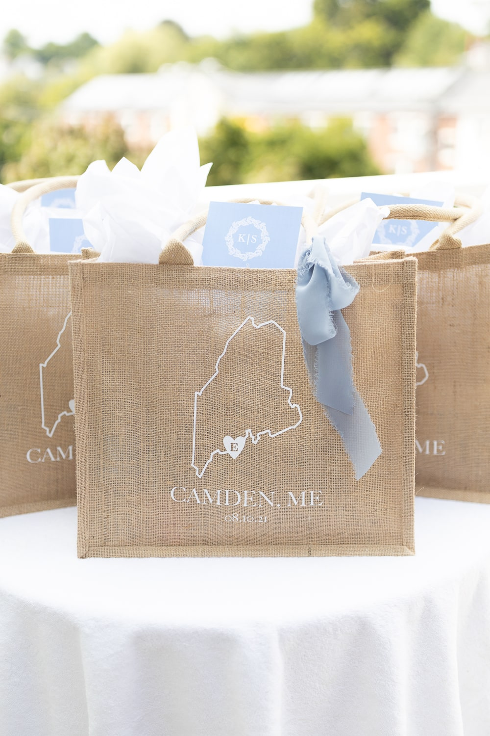 DIY Maine wedding welcome bags created by DIY blogger Stephanie Ziajka on Diary of a Debutante